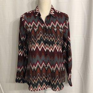 Rue 21 women's sz M button up shirt chevron print